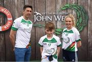 12 June 2017; Shane Quinn from Shamrock Gaels, Co Longford, pictured with Donegal's Rory Kavanagh and Monaghan's Eimear McAnespie after participating in the boys football competition at the John West Skills Day in the National Sports Campus on Saturday 10th June. The Skills Day is an opportunity for Ireland's rising football, hurling & camogie stars to show their skills ahead of the John West Féile na nÓg and John West Féile na nGael competitions. At Abbottstown in Dublin. Photo by Cody Glenn/Sportsfile