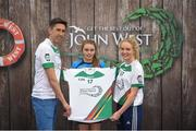 12 June 2017; Caoimhe McCarthy from Dromcollogher/Broadford GAA Club, Co Limerick, pictured with Donegal's Rory Kavanagh and Monaghan's Eimear McAnespie after participating in the girls football competition at the John West Skills Day in the National Sports Campus on Saturday 10th June. The Skills Day is an opportunity for Ireland's rising football, hurling & camogie stars to show their skills ahead of the John West Féile na nÓg and John West Féile na nGael competitions. At Abbottstown in Dublin. Photo by Cody Glenn/Sportsfile