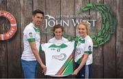 12 June 2017; Niamh Mortell from Celbridge GAA Club, Co Kildare, pictured with Donegal's Rory Kavanagh and Monaghan's Eimear McAnespie after participating in the girls football competition at the John West Skills Day in the National Sports Campus on Saturday 10th June. The Skills Day is an opportunity for Ireland's rising football, hurling & camogie stars to show their skills ahead of the John West Féile na nÓg and John West Féile na nGael competitions. At Abbottstown in Dublin. Photo by Cody Glenn/Sportsfile