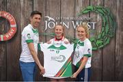 12 June 2017; Shóna Byrne from Tinahely GAA Club, Co Wicklow, pictured with Donegal's Rory Kavanagh and Monaghan's Eimear McAnespie after participating in the girls football competition at the John West Skills Day in the National Sports Campus on Saturday 10th June. The Skills Day is an opportunity for Ireland's rising football, hurling & camogie stars to show their skills ahead of the John West Féile na nÓg and John West Féile na nGael competitions. At Abbottstown in Dublin. Photo by Cody Glenn/Sportsfile