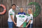12 June 2017; Ciara Boylan from Crosserough GAA Club, Co Cavan, pictured with Donegal's Rory Kavanagh and Monaghan's Eimear McAnespie after participating in the girls football competition at the John West Skills Day in the National Sports Campus on Saturday 10th June. The Skills Day is an opportunity for Ireland's rising football, hurling & camogie stars to show their skills ahead of the John West Féile na nÓg and John West Féile na nGael competitions. At Abbottstown in Dublin. Photo by Cody Glenn/Sportsfile