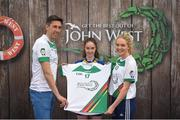 12 June 2017; Casey O'Neill from Clann na nGael GAA Club, Co Roscommon, pictured with Donegal's Rory Kavanagh and Monaghan's Eimear McAnespie after participating in the girls football competition at the John West Skills Day in the National Sports Campus on Saturday 10th June. The Skills Day is an opportunity for Ireland's rising football, hurling & camogie stars to show their skills ahead of the John West Féile na nÓg and John West Féile na nGael competitions. At Abbottstown in Dublin. Photo by Cody Glenn/Sportsfile