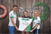 12 June 2017; Leah Cunningham from Donaghmoyne GAA Club, Co Monaghan, pictured with Donegal's Rory Kavanagh and Monaghan's Eimear McAnespie after competing in the girls football competition at the John West Skills Day in the National Sports Campus on Saturday 10th June. The Skills Day is an opportunity for Ireland's rising football, hurling & camogie stars to show their skills ahead of the John West Féile na nÓg and John West Féile na nGael competitions. At Abbottstown in Dublin. Photo by Cody Glenn/Sportsfile