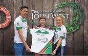 12 June 2017; Sinead Kirwan from Glynn Barntown GAA Club, Co Wexford, pictured with Donegal's Rory Kavanagh and Monaghan's Eimear McAnespie after competing in the girls football competition at the John West Skills Day in the National Sports Campus on Saturday 10th June. The Skills Day is an opportunity for Ireland's rising football, hurling & camogie stars to show their skills ahead of the John West Féile na nÓg and John West Féile na nGael competitions. At Abbottstown in Dublin. Photo by Cody Glenn/Sportsfile