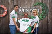 12 June 2017; Anna Ryan from Mourneabbey GAA Club, Co Cork, pictured with Donegal's Rory Kavanagh and Monaghan's Eimear McAnespie after participating in the girls football competition at the John West Skills Day in the National Sports Campus on Saturday 10th June. The Skills Day is an opportunity for Ireland's rising football, hurling & camogie stars to show their skills ahead of the John West Féile na nÓg and John West Féile na nGael competitions. At Abbottstown in Dublin. Photo by Cody Glenn/Sportsfile