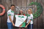 12 June 2017; Orla Hennessy from Timahoe Ladies Football Club, Co Laois, pictured with Donegal's Rory Kavanagh and Monaghan's Eimear McAnespie after competing in the girls football competition at the John West Skills Day in the National Sports Campus on Saturday 10th June. The Skills Day is an opportunity for Ireland's rising football, hurling & camogie stars to show their skills ahead of the John West Féile na nÓg and John West Féile na nGael competitions. At Abbottstown in Dublin. Photo by Cody Glenn/Sportsfile
