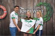 12 June 2017; Ciara Ryan from Arravale Rovers GAA Club, Co Tipperary, pictured with Donegal's Rory Kavanagh and Monaghan's Eimear McAnespie after competing in the girls football competition at the John West Skills Day in the National Sports Campus on Saturday 10th June. The Skills Day is an opportunity for Ireland's rising football, hurling & camogie stars to show their skills ahead of the John West Féile na nÓg and John West Féile na nGael competitions. At Abbottstown in Dublin. Photo by Cody Glenn/Sportsfile