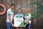 12 June 2017; Emma Kane from Kilmacud Crokes, Co Dublin, pictured with Donegal's Rory Kavanagh and Monaghan's Eimear McAnespie after competing in the girls football competition at the John West Skills Day in the National Sports Campus on Saturday 10th June. The Skills Day is an opportunity for Ireland's rising football, hurling & camogie stars to show their skills ahead of the John West Féile na nÓg and John West Féile na nGael competitions. At Abbottstown in Dublin. Photo by Cody Glenn/Sportsfile