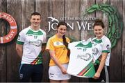 12 June 2017; Orlagh Convery from Geraldines Portglenone Camogie Club, Co Antrim, pictured with Dublin's Liam Rushe and Carlow's Kate Nolan after participating in the camogie competition at the John West Skills Day in the National Sports Campus on Saturday 10th June. The Skills Day is an opportunity for Ireland's rising football, hurling & camogie stars to show their skills ahead of the John West Féile na nÓg and John West Féile na nGael competitions. At Abbottstown in Dublin.  Photo by Cody Glenn/Sportsfile