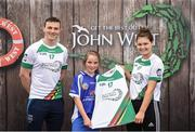 12 June 2017; Cara Reilly from Crosserlough GAA Club, Co Cavan, pictured with Dublin's Liam Rushe and Carlow's Kate Nolan after participating in the camogie competition at the John West Skills Day in the National Sports Campus on Saturday 10th June. The Skills Day is an opportunity for Ireland's rising football, hurling & camogie stars to show their skills ahead of the John West Féile na nÓg and John West Féile na nGael competitions. At Abbottstown in Dublin.  Photo by Cody Glenn/Sportsfile