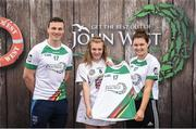 12 June 2017; Aoife McMullen from Moorefield Camogie Club, Co Kildare, pictured with Dublin's Liam Rushe and Carlow's Kate Nolan after participating in the camogie competition at the John West Skills Day in the National Sports Campus on Saturday 10th June. The Skills Day is an opportunity for Ireland's rising football, hurling & camogie stars to show their skills ahead of the John West Féile na nÓg and John West Féile na nGael competitions. At Abbottstown in Dublin.  Photo by Cody Glenn/Sportsfile