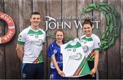 12 June 2017; Eireann Cole from Naomh Eamann Camogie Club, Co Laois, pictured with Dublin's Liam Rushe and Carlow's Kate Nolan after participating in the camogie competition at the John West Skills Day in the National Sports Campus on Saturday 10th June. The Skills Day is an opportunity for Ireland's rising football, hurling & camogie stars to show their skills ahead of the John West Féile na nÓg and John West Féile na nGael competitions. At Abbottstown in Dublin.  Photo by Cody Glenn/Sportsfile
