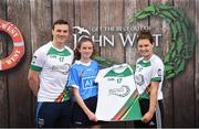 12 June 2017; Roisin Ni Chathasaigh from Dublin pictured with Dublin's Liam Rushe and Carlow's Kate Nolan after participating in the camogie competition at the John West Skills Day in the National Sports Campus on Saturday 10th June. The Skills Day is an opportunity for Ireland's rising football, hurling & camogie stars to show their skills ahead of the John West Féile na nÓg and John West Féile na nGael competitions. At Abbottstown in Dublin.  Photo by Cody Glenn/Sportsfile