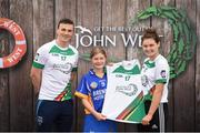 12 June 2017; Sophie Bermingham from Kiltegan GAA Club, Co Wicklow, pictured with Dublin's Liam Rushe and Carlow's Kate Nolan after participating in the camogie competition at the John West Skills Day in the National Sports Campus on Saturday 10th June. The Skills Day is an opportunity for Ireland's rising football, hurling & camogie stars to show their skills ahead of the John West Féile na nÓg and John West Féile na nGael competitions. At Abbottstown in Dublin.  Photo by Cody Glenn/Sportsfile
