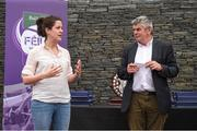 12 June 2017; Anne-Claire Monde, John West Marketing Manager, and Martin Skelly, Chairman, National Féile Committee, thank attendees at the John West Skills Day in the National Sports Campus on Saturday 10th June. The Skills Day is an opportunity for Ireland's rising football, hurling & camogie stars to show their skills ahead of the John West Féile na nÓg and John West Féile na nGael competitions. At Abbottstown in Dublin.  Photo by Cody Glenn/Sportsfile