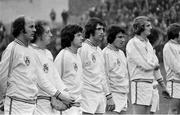 30 October 1974; Republic of Ireland players, from left to right, Terry Mancini, Mick Martin, Joe Kinnear, Don Givens, Ray Treacy, Paddy Roche, stand together for the national anthem ahead of the game. European Championship 1976 Qualifier - Group 6, Republic of Ireland v Soviet Union, Dalymount Park, Dublin. Picture credit: Connolly Collection / SPORTSFILE