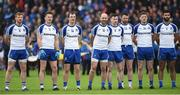 11 June 2017; Kieran Hughes, Fintan Kelly, Jack Mc Carron, Gavin Doogan, Karl O'Connell, Owen Duffy, Conor McManus and Neil McAdam of Monaghan before the Ulster GAA Football Senior Championship Quarter-Final match between Cavan and Monaghan at Kingspan Breffni, in Cavan. Photo by Oliver McVeigh/Sportsfile