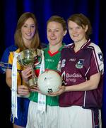 31 January 2012; In attendance at the launch of the 2012 Bord Gáis Energy Ladies Gaelic National Football League are, from left, Eimear Considine, Clare, Claire Egan, Mayo, and Mairead Coyne, Galway, with the Division 2 trophy. Croke Park, Dublin. Picture credit: Brendan Moran / SPORTSFILE