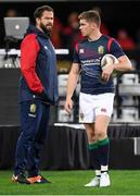 13 June 2017; Owen Farrell and British & Irish Lions defence coach Andy Farrell prior to the match between the Highlanders and the British & Irish Lions at Forsyth Barr Stadium in Dunedin, New Zealand. Photo by Stephen McCarthy/Sportsfile