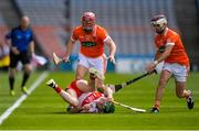 10 June 2017; Paul Cleary of Derry in action against Cahal Carvill, left, and Danny Magee of Armagh during the Nicky Rackard Cup Final match between Armagh and Derry at Croke Park in Dublin. Photo by Piaras Ó Mídheach/Sportsfile