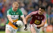 11 June 2017; Niall Darby of Offaly in action against David Lynch of Westmeath during the Leinster GAA Football Senior Championship Quarter-Final match between Offaly and Westmeath at Bord Na Móna O'Connor Park, Tullamore, in Co. Offaly. Photo by Piaras Ó Mídheach/Sportsfile