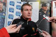 1 February 2012; Down manager James McCartan speaking at the Belfast launch of the 2012 Allianz Football Leagues. Belfast Launch of the Allianz Football Leagues 2012, Europa Hotel, Belfast, Co. Antrim. Picture credit: Oliver McVeigh / SPORTSFILE