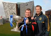 1 February 2012; Down manager James McCartan, left, and Meath selector and player Graham Geraghty pictured at the Titanic Building, Titanic Quarter, at the Belfast launch of the 2012 Allianz Football Leagues, Belfast, Co. Antrim. Picture credit: Oliver McVeigh / SPORTSFILE