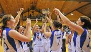 3 February 2012; The UL team celebrate with the cup after the game. Basketball Ireland Women's Superleague Cup Final, DCU Mercy v UL, National Basketball Arena, Tallaght, Co. Dublin. Picture credit: Brendan Moran / SPORTSFILE