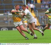 23 June 2002; Alan Mulhall, Offaly, in action against Frank Ryder, Kildare. Offaly v Kildare, Bank of Ireland Leinster Junior Football Championship Semi-Final, Croke Park, Dublin. Picture credit; Brian Lawless / SPORTSFILE
