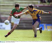 23 June 2002; Ray Connelly, Mayo, in action against Conor Connelly, Roscommon. Mayo v Roscommon, All Ireland Football Qualifier Round 2, McHale Park, Castlebar, Mayo. Picture credit; David Maher / SPORTSFILE