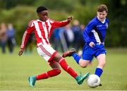 16 June 2017; Emmanuel Achgboyega of Dundalk in action against Ben Freeman of Midlands during the SFAI Umbro Kennedy Cup Bowl Final match between Midlands and Dundalk at the University of Limerick in Limerick. Photo by Matt Browne/Sportsfile *** NO REPRODUCTION FEE ***
