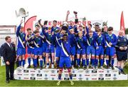 16 June 2017; Midlands captain Lawson Obulor lifts the cup as his team-mates celebrate after the SFAI Umbro Kennedy Cup Bowl Final match between Midlands and Dundalk at the University of Limerick in Limerick. Photo by Matt Browne/Sportsfile