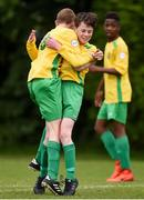 16 June 2017; John O'Connor,right, of Kerry is congratulated by team-mate Cian McMahon after he scored a goal against West Cork during the SFAI Umbro Kennedy Cup Shield Final match between Kerry and West Cork at the University of Limerick in Limerick. Photo by Matt Browne/Sportsfile
