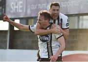 16 June 2017; David McMillian, left, of Dundalk celebrates after scoring his side's second goal with team-mate Brian Gartland during the SSE Airtricity League Premier Division match between Drogheda United and Dundalk at United Park in Drogheda, Co. Louth. Photo by David Maher/Sportsfile