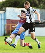 16 June 2017; David McMillan of Dundalk in action against Ciaran McGuigan of Drogheda United during the SSE Airtricity League Premier Division match between Drogheda United and Dundalk at United Park in Drogheda, Co. Louth. Photo by David Maher/Sportsfile