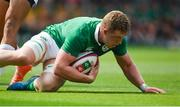 17 June 2017; Dan Leavy of Ireland scores his side's third try during the international rugby match between Japan and Ireland at the Shizuoka Epoca Stadium in Fukuroi, Shizuoka Prefecture, Japan. Photo by Brendan Moran/Sportsfile