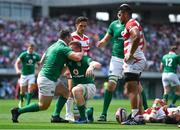 17 June 2017; Dan Leavy of Ireland is congratulated by team-mate Cian Healy after scoring their side's second try during the international rugby match between Japan and Ireland at the Shizuoka Epoca Stadium in Fukuroi, Shizuoka Prefecture, Japan. Photo by Brendan Moran/Sportsfile