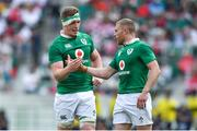 17 June 2017; Dan Leavy, left, and Keith Earls of Ireland celebrate after the international rugby match between Japan and Ireland at the Shizuoka Epoca Stadium in Fukuroi, Shizuoka Prefecture, Japan. Photo by Brendan Moran/Sportsfile