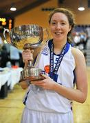 3 February 2012; Aoife McDermott, UL, celebrates with the cup. Basketball Ireland Women's Superleague Cup Final, DCU Mercy v UL, National Basketball Arena, Tallaght, Co. Dublin. Picture credit: Brendan Moran / SPORTSFILE
