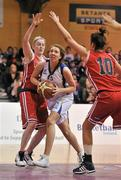 3 February 2012; Aoife McDermott, UL, in action against Suzanne Maguire, left, and Shauna O'Connor, DCU Mercy. Basketball Ireland Women's Superleague Cup Final, DCU Mercy v UL, National Basketball Arena, Tallaght, Co. Dublin. Picture credit: Brendan Moran / SPORTSFILE