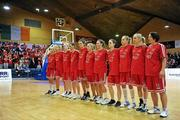 3 February 2012; The DCU Mercy team stand for the National Anthem before the game. Basketball Ireland Women's Superleague Cup Final, DCU Mercy v UL, National Basketball Arena, Tallaght, Co. Dublin. Picture credit: Brendan Moran / SPORTSFILE