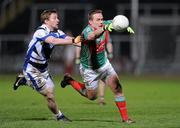 4 February 2012; Andy Moran, Mayo, in action against Cahir Healy, Laois. Allianz Football League, Division 1, Round 1, Laois v Mayo, O'Moore Park, Portlaoise, Co. Laois. Picture credit: Matt Browne / SPORTSFILE