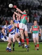 4 February 2012; Seamus O'Shea and Barry Moran, Mayo, in action against Brendan Quigley, Laois. Allianz Football League, Division 1, Round 1, Laois v Mayo, O'Moore Park, Portlaoise, Co. Laois. Picture credit: Matt Browne / SPORTSFILE
