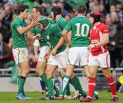 5 February 2012; Rory Best, Ireland, is congratulated by team mates, from left, Conor Murray, Tommy Bowe, Stephen Ferris and Jonathan Sexton, after scoring his side's first try. RBS Six Nations Rugby Championship, Ireland v Wales, Aviva Stadium, Lansdowne Road, Dublin. Picture credit: Brian Lawless / SPORTSFILE