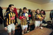 5 February 2012; Kilkenny players, from left, J.J. Grace, Declan Grennan, Peter McBride and Stephen Duggan, listen to last minute instructions before leaving the dressing room for the game. Allianz Football League, Division 4, Round 1, Kilkenny v Wicklow, Freshford GAA Grounds, Freshford, Co. Kilkenny. Picture credit: Ray McManus / SPORTSFILE