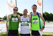 17 June 2017; Men's race medallists, from left, Sean Hehir, silver, Kevin Maunsell, gold and John Coghlan, bronze, following the Irish Runner 5 Mile at the Phoenix Park in Dublin. Photo by Sam Barnes/Sportsfile