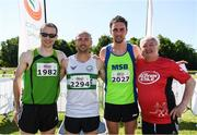 17 June 2017; Men's race medallists, from left, Sean Hehir, silver, Kevin Maunsell, gold and John Coghlan, bronze, with Irish Runner Editor Frank Greally, following the Irish Runner 5 Mile at the Phoenix Park in Dublin. Photo by Sam Barnes/Sportsfile