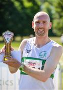 17 June 2017; Kevin Maunsell of Clonmel AC, Co Tipperary, with his trophy after winning the Irish Runner 5 Mile at the Phoenix Park in Dublin. Photo by Sam Barnes/Sportsfile