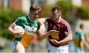 17 June 2017; John Moloney of Offaly in action against Jamie Gonoud of Westmeath during the Leinster GAA Football Senior Championship Quarter-Final Replay match between Westmeath and Offaly at TEG Cusack Park in Mullingar, Co Westmeath. Photo by Piaras Ó Mídheach/Sportsfile