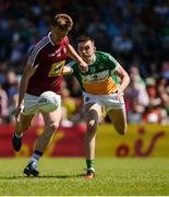 17 June 2017; John Heslin of Westmeath in action against James Lalor of Offaly during the Leinster GAA Football Senior Championship Quarter-Final Replay match between Westmeath and Offaly at TEG Cusack Park in Mullingar, Co Westmeath. Photo by Piaras Ó Mídheach/Sportsfile
